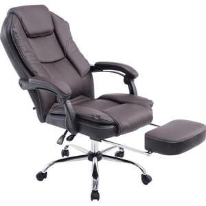 Clp Managerstoel CASTLE, met voetsteun, ergonomisch, kunstlederen bekleding - bruin