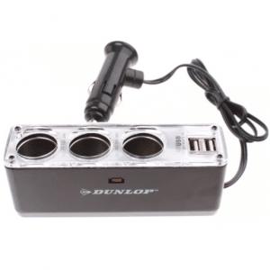 Dunlop - 3-weg Splitter 12 24 Volt Met Twee Usb-poorten