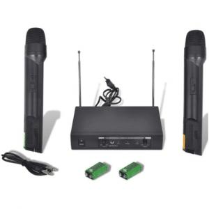 VidaXL Ontvanger met 2 draadloze VHF-microfoons