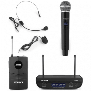 Vonyx WM82C draadloze UHF microfoonset met handheld en headset microfoon