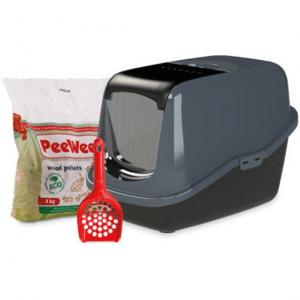 PeeWee Kattenbak EcoHus Startpakket - Zwart - 56 x 39 x 38,5 cm