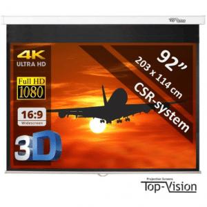 Top-Vision Manueel Projectiescherm (16 9) - 92 (234cm) - 203 x 114 cm - mét CSR-systeem - beamer scherm