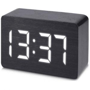 JAP Clocks AP142 digitale wekker - Houten alarmklok